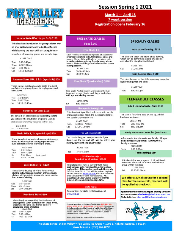 SS figure skating schedule